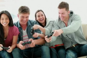 stock-footage-friends-playing-video-games-while-laughing-in-the-living-room